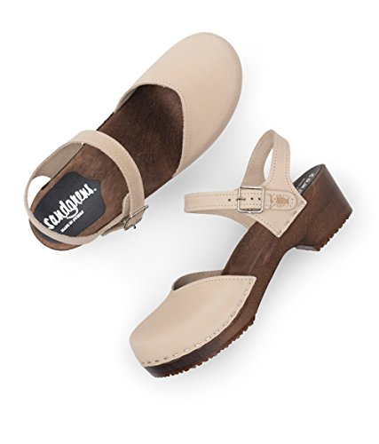 Dark Base Sandals Clog Low Swedish Heel for Saragasso Wooden Sand Women Sandgrens nxqHTOn
