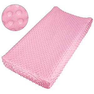 NOZAAM Baby Minky Dot Changing Pad Cover Ultra Soft Changing Table Pad Cover for Diaper Changing Pad (Pink)