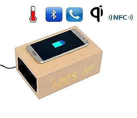 tuop @ multifunción estéreo Bluetooth madera altavoz Qi ...