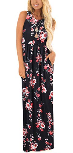 ZZER Women's Sleeveless Floral Racerback Loose Swing Casual Tunic Beach Long Maxi Dresses with Pockets (C3012FloRedBlac21,L)