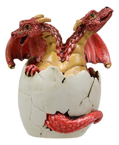 Ebros Red Baby Wyrmling Two Headed Dragon Hydra Hatchling in Egg Statue 3.25