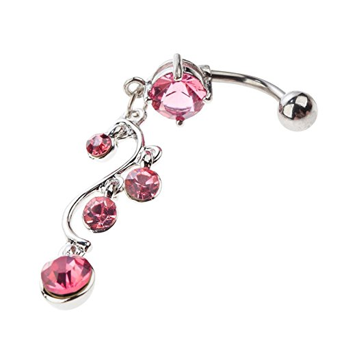 Refined Design High Quality Surgical Steel Belly Button Navel 14 Gauge Curved Bar Bananabell Piercing With Vine Twisted Shaped Pendant And Pink Crystals Rhinestones Gemstones Dangles By VAGA©