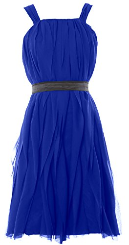 MACloth Women Short Bridesmaid Dress Straps Chiffon Cocktail Party Formal Gown Azul Real