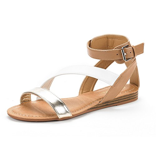 Gold Criss Cross Design (DREAM PAIRS Nora New Women Open Toe Fashion Buckle Crisscross Valcre Ankle Straps Summer Design Flat Sandals Gold White Nude Size 7)