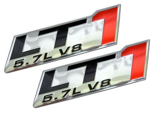 (ERPART LT1 5.7L V8 RED Engine Emblem Badge Highly Polished Aluminum Chrome Silver Compatible with Chevy Corvette C4 Buick Camaro Pontiac Trans AM Caprice SS Impala Cadillac Pontiac Firebird Z28 (Pack)