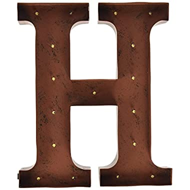 The Gerson Company  H  LED Lighted Metal Letter with Rustic Brown Finish