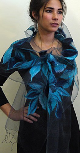 ''Lagoon Nuno Shawl'' handwoven pure silk organza shawl with hand-felted merino wool design 15'' x 85'' by Alarte Silks