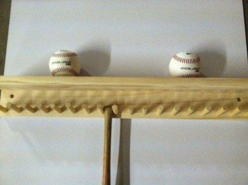 Baseball Bat Rack and Ball Holder Display Natural Finish Meant to Hold up to 17 Mini Collectible Bats and 6 Baseballs by Baseballrack