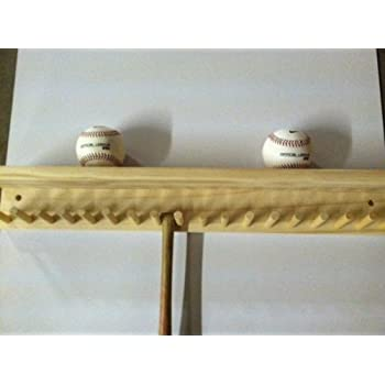 Baseball Bat Rack And Ball Holder Display Natural Finish Meant To Hold Up  To 17 Mini