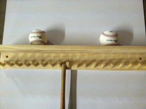 Baseball Bat Rack and Ball Holder Display Natural Finish Meant to Hold up to 17 Mini Collectible Bats and 6 Baseballs