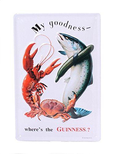 GUINNESS FISH AND LOBSTER Small Vintage Metal Tin Pub Sign