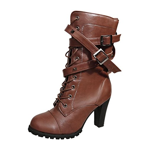 Colorful TM Fashion Women Buckle Ladies Belt Faux Leather Warm Boots Ankle Boots High Heels Martin Shoes Brown