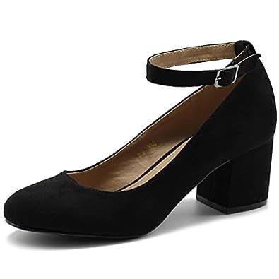 Ollio Womens MG0036 Pumps-Shoes Black Size: 6
