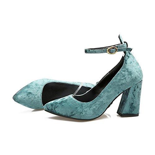 Donna Tacco Puro Voguezone009 A Punta Pelle flats Di Azzurro Fibbia Ballet Alto Mucca Scarpe 6wadqB