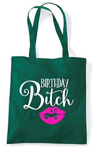 Shopper Green Birthday Kisses Bitch Bag Tote Dark ITCz4xT