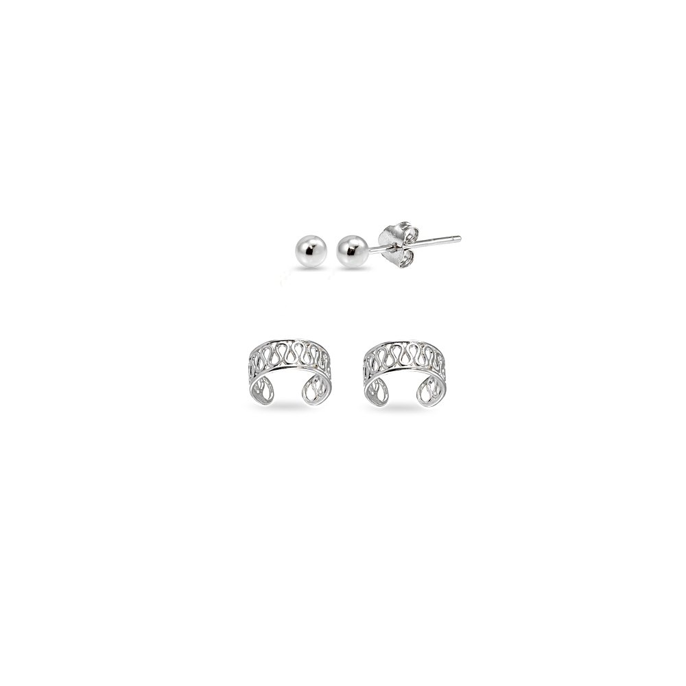 Hoops 4 Less 2 Pairs Sterling Silver Unisex Filigree Ear Cuffs and 3mm Bead Ball Stud Earrings Set