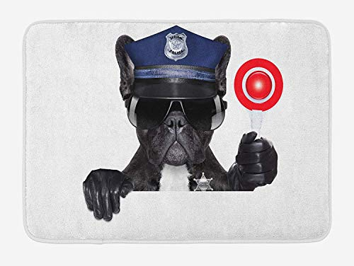 Police Bath Mat, Animal Dog Pug Wears Glasses Thumbs up with Sirens Traffic Police Like Artwork, Plush Bathroom Decor Mat with Non Slip Backing, 23.6 W X 15.7W Inches, Blue and Black