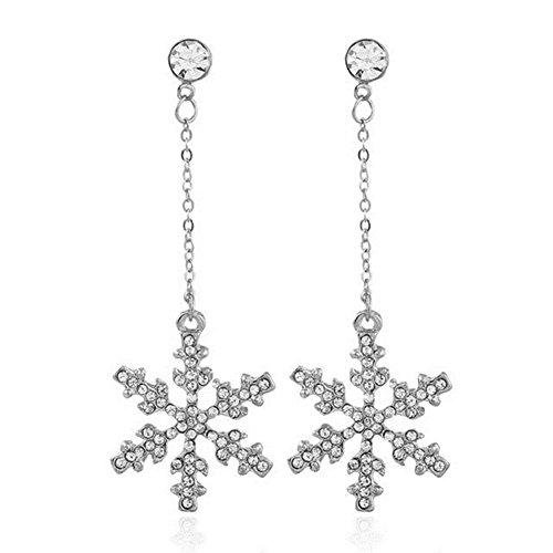 Sterling Silver Plated CZ Shining Big Snowflake Charm Long Tassel Dangle Drop Earrings