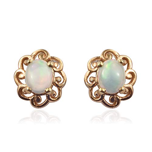 925 Sterling Silver Vermeil Yellow Gold Plated Oval Welo Opal Stud Solitaire Earrings Gift Jewelry for Women