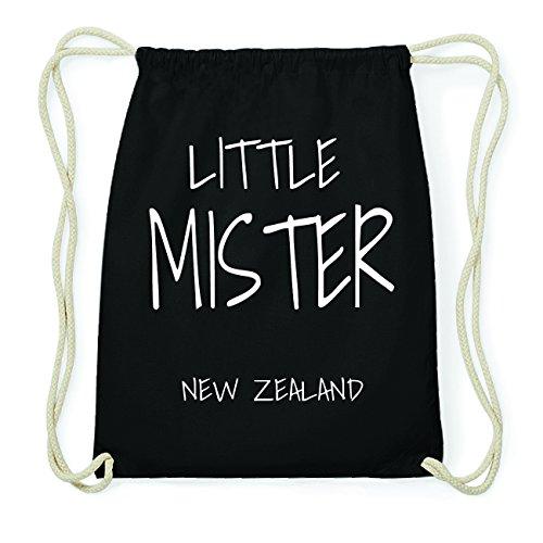 JOllify NEW ZEALAND Hipster Turnbeutel Tasche Rucksack aus Baumwolle - Farbe: schwarz Design: Little Mister