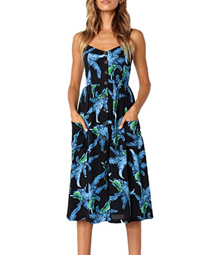 (PIZOFF Women's Summer Palm Leaf Dress Floral Backless Spaghetti Strap Button Down Midi Dress with Pockets AM071-08-M)