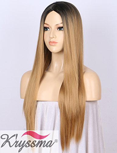 K'ryssma Ombre Synthetic Wig M03800 - Full Machine Made Long Straight Blonde Wig Black Roots Middle Parting Cheap Wigs for Women 22 inches + Wig Cap -