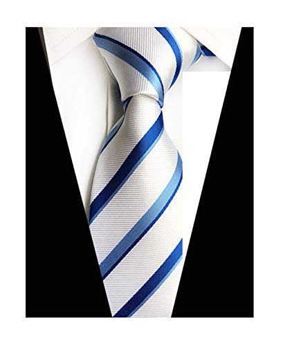 New Classic White Blue Striped Tie Woven Jacquard Silk Men's Suits Ties ()