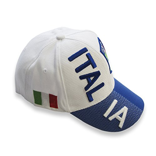 1 Embroidery Soccer (WOWMAR Baseball Caps Hat with 3D Embroideries Coat of Arms of Italia Adjustable Unisex Polo Style One Size)