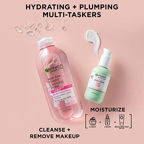 Garnier SkinActive Green Labs Hyalu-Melon Replumping Serum Cream Moisturizer with SPF 30 and Hyaluronic Acid + Watermelon and Trial Size Micellar Cleansing (In Carton) (Packaging May Vary)