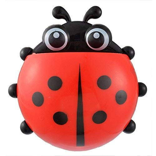 Cute Cartoon Ladybug Kids Toothbrush Holder Wall Mounted Suction Cup Toothpaste Dispenser for Bathroom Mirror (Red)