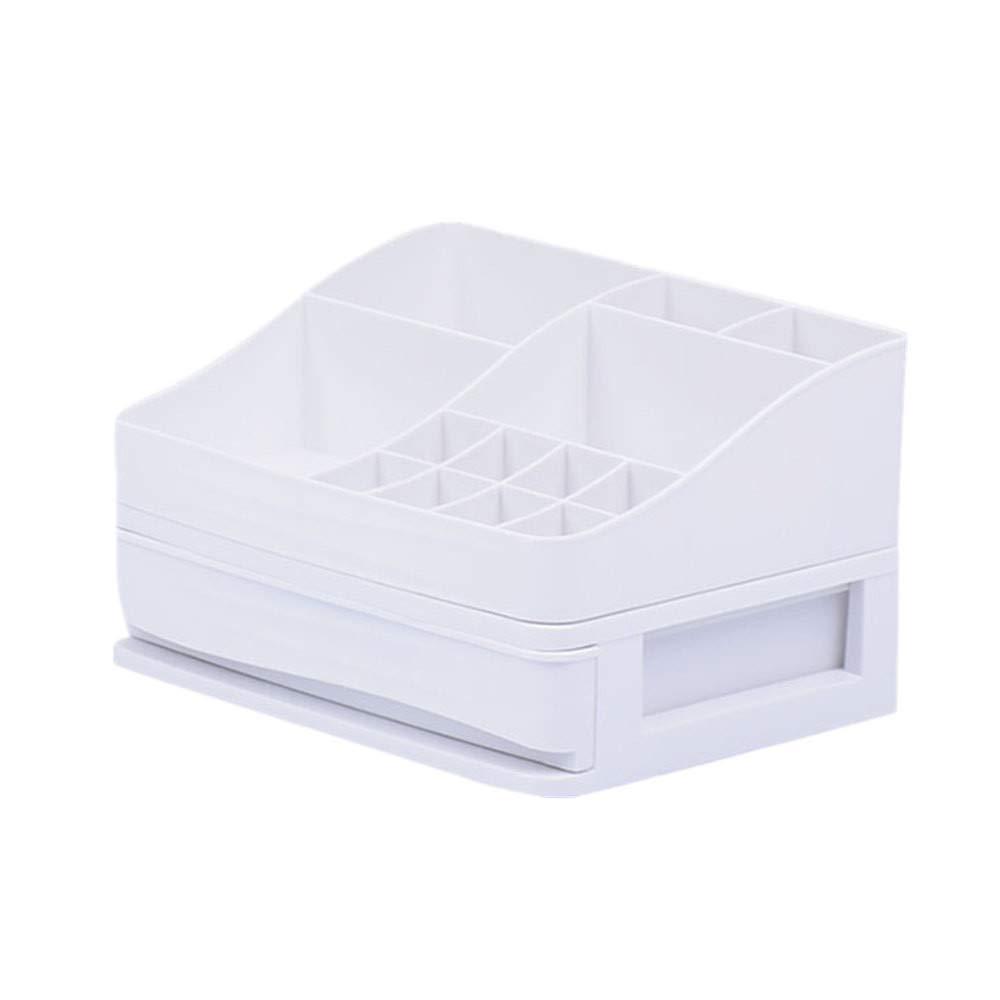 YJYDADA Makeup Holder Cosmetic Storage Box Case Desktop Arrange Organizer Tool (White)