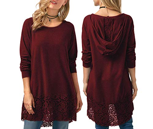 Hooded Lace (foveitaa Women Lace Long Sleeve Hoodie Tunic Top A-line Stitching Trim Casual Dress Red XL)