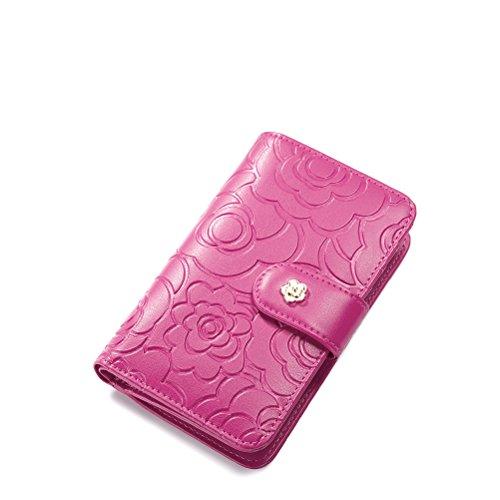 NUCELLE Womens Bi Fold Wallets Leather Card Holder Money Clip For Ladies Rose