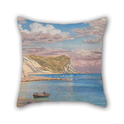 Pillowcase Of Oil Painting John Brett - Man Of War Rocks, Coast Of Dorset For Pub Him Bar Seat Christmas Dining Room Lounge 16 X 16 Inches / 40 By 40 Cm(twin Sides) (Wicker Brett)
