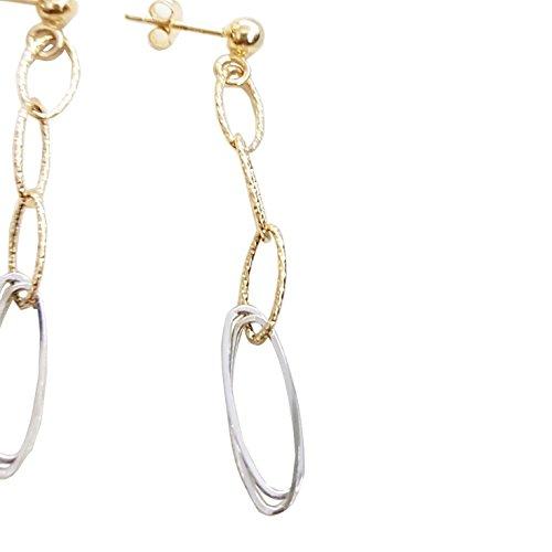 Boucles d'oreilles pendantes en Or jaune et blanc 18carats (750/000)
