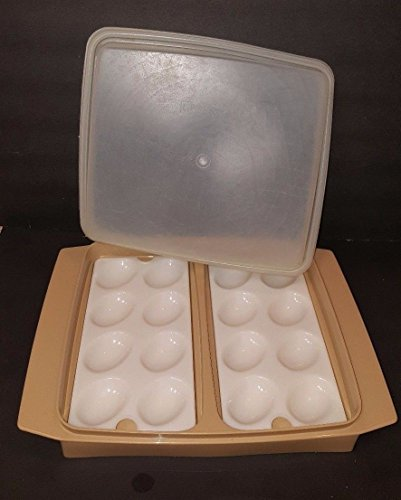 Vintage Tupperware Beige w/ Clear Top Deviled Egg Taker Container (4 Piece)