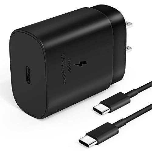 USB Type C Charger, 25w PD Fast Wall Charger for Samsung Galaxy Note 10/Note 10 Plus/Note 20/20 Ultra/S20/S20 Ultra/S10 5G, Google Pixel 2 XL/3/3XL/4/4XL, iPad Pro 12.9/11, with USB C to USB C Cable