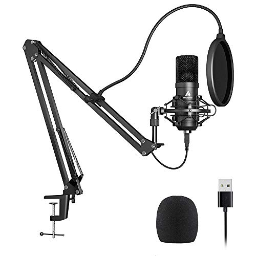 - USB Microphone Kit 192KHZ/24BIT Plug & Play MAONO AU-A04 USB Computer Cardioid Mic Podcast Condenser Microphone with Professional Sound Chipset for PC Karaoke, YouTube, Gaming Recording