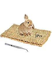 Tfwadmx Large Rabbit Grass Mat Natural Straw Woven Bunny Bed Small Animal Cage Hay Mat Sleeping Play Chew Toys for Guinea Pig,Parrot,Hamster,Chinchilla,Squirrel and Cat( 15.7'' x 11'',3 Pcs)