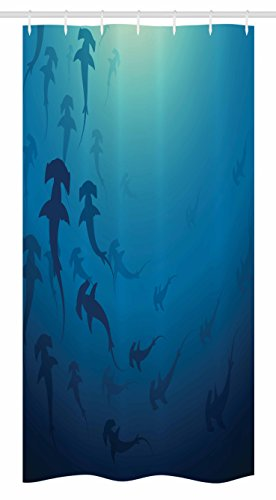 Ambesonne Sea Animals Stall Shower Curtain, Hammerhead Shark School Scan Ocean Dangerous Predator Wild Nature Illustration, Fabric Bathroom Decor Set with Hooks, 36 W x 72 L Inches, Navy (Most Dangerous Sharks)