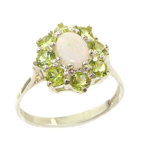 925 Sterling Silver Real Genuine Opal and Peridot Womens Band Ring