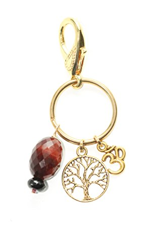 Om Tree Of Life Tiger Eye Onyx Crystal Charm Clip On Yoga Bag Keychain Backpack Accessory