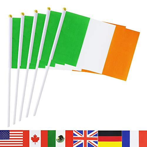 Ireland Stick Flag,TSMD 50 Pack Hand Held Small Irish National Flags On Stick,International World Country Stick Flags Banners,Party Decorations For Grand Opening,Olympics,Sports Clubs,Festival Events -