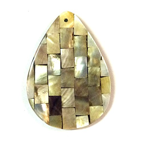 Imagine If... Inlay Shell Pear Shape Pendant 42x60mm Front Top Drill