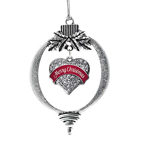 (Inspired Silver - Red Merry Christmas Charm Ornament - Silver Pave Heart Charm Holiday Ornaments with Cubic Zirconia Jewelry )