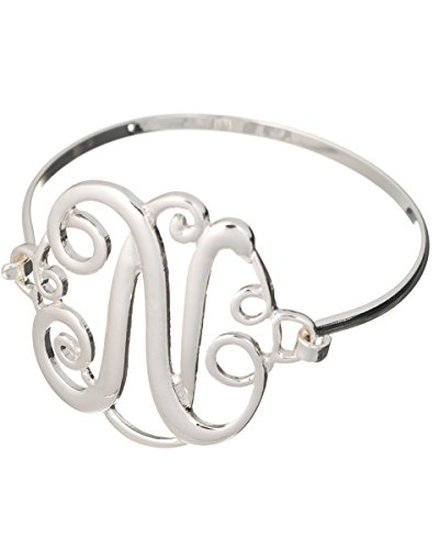 Jewelry Nexus Initial N MONOGRAM Designer Silver-tone Filigree Wire Bracelet