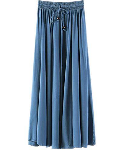 Jupes Femme Longue Haute Taille Casual Pliss Maxi Jupe de Plage Denim Bleu