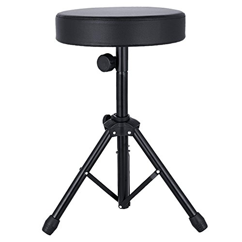 EastRock Universal Drum Throne,Padded Drum Seat Rotatable Height Adjustable drumming Stools with Anti-Slip Feet for Adults and Kids Black