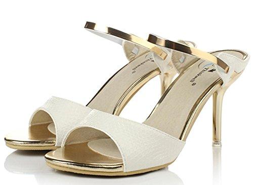 YCMDM Damen Sandalen Sommer Sandalen PU Casual Stiletto Heel weiß schwarz , white , us6.5-7 / eu37 / uk4.5-5 / cn37