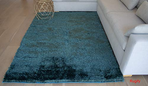 - LA Scatter Large Rectangular Big Shag Shaggy Soft Contemporary Modern Cozy Solid Fluffy 5-Feet-by-7-Feet Polyester Made Area Rug Carpet Rug Teal Color